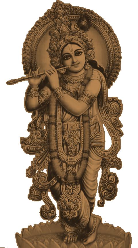 Referência Krishna - Escultura em emburana 20 cm