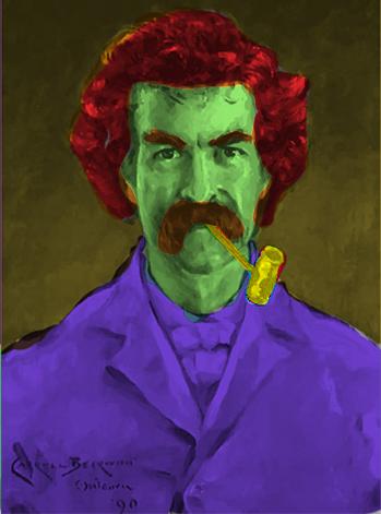 Referência Mark Twain - Lápis e tinta hering para tecido sobre papelão 50 x 80 - Ano 1968