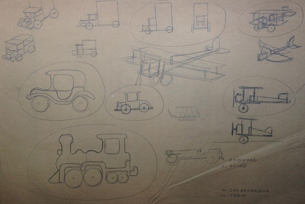 Estudo dos brinquedos em madeira, desenvolvidos entre 1978 e 1981 em que Mario usava madeiras de reaproveitamento e cola, e os montava sem pregos ou parafusos