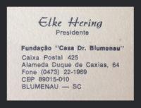 Cartão de Elke Hering, quem organizou a primeira exposição de Mario Valdanini, em 1972