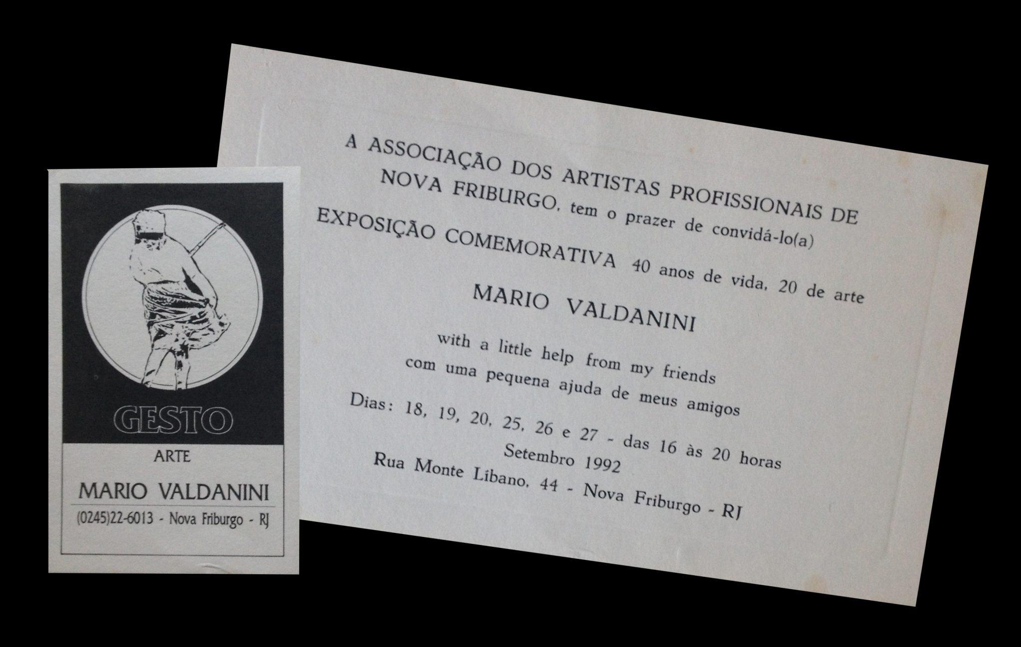 Convite Exposição 40 anos de vida - 20 de arte - Ano 1992